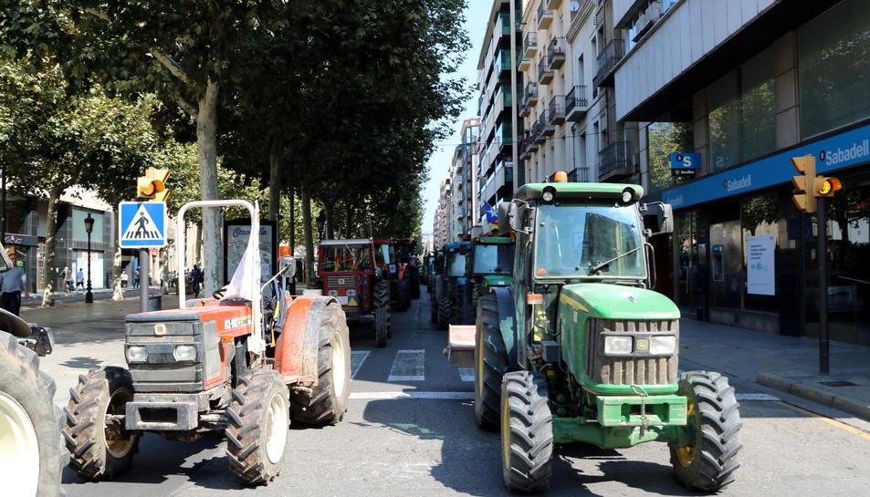 Imatge de la tractorada que va tenir lloc a Lleida aquest dissabte 23 de setembre.