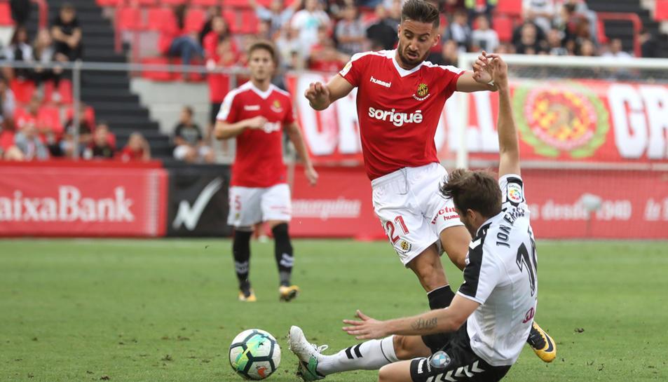 Omar Perdomo, durant el Nàstic-Albacete de fa dues setmanes, al Nou Estadi.