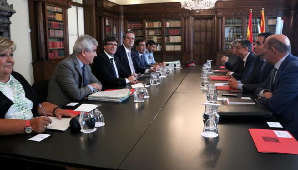 Imatge general de la reunió de la Junta de Seguretat de Catalunya, el 28 de setembre de 2017.