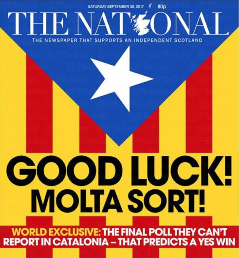 Portada del diari escocès independentista 'The Nathional' aquest dissabte 30 de setembre.