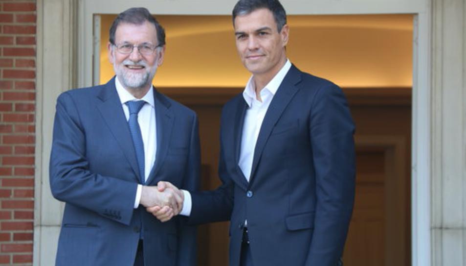 El president espanyol, Mariano Rajoy, rep el líder del PSOE, Pedro Sánchez, a La Moncloa aquest 07/09/2017