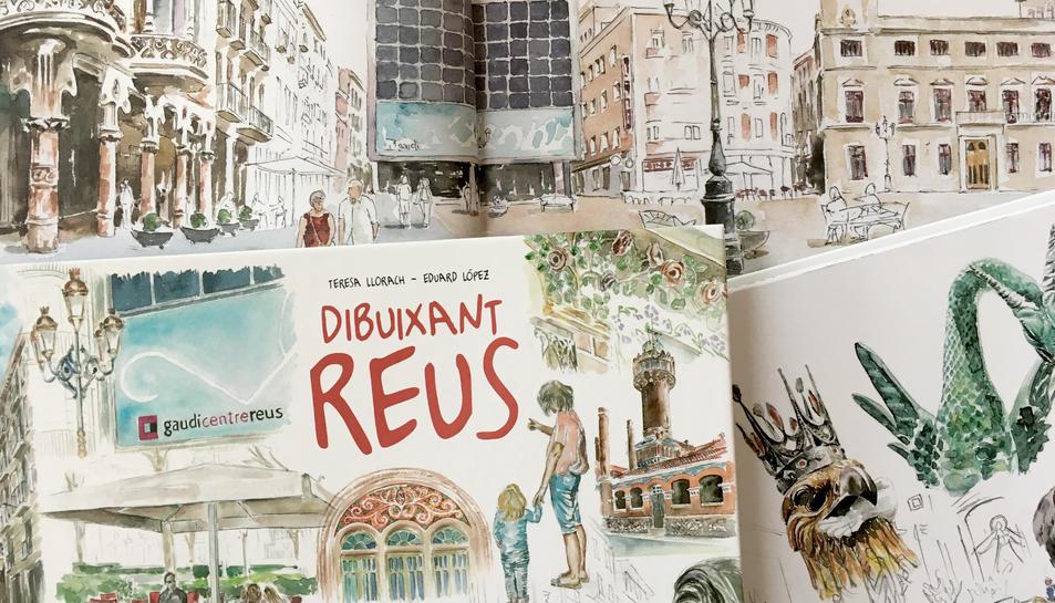 La coberta i algunes pàgines del llibre, il·lustrat per la reusenca Teresa Llorach.