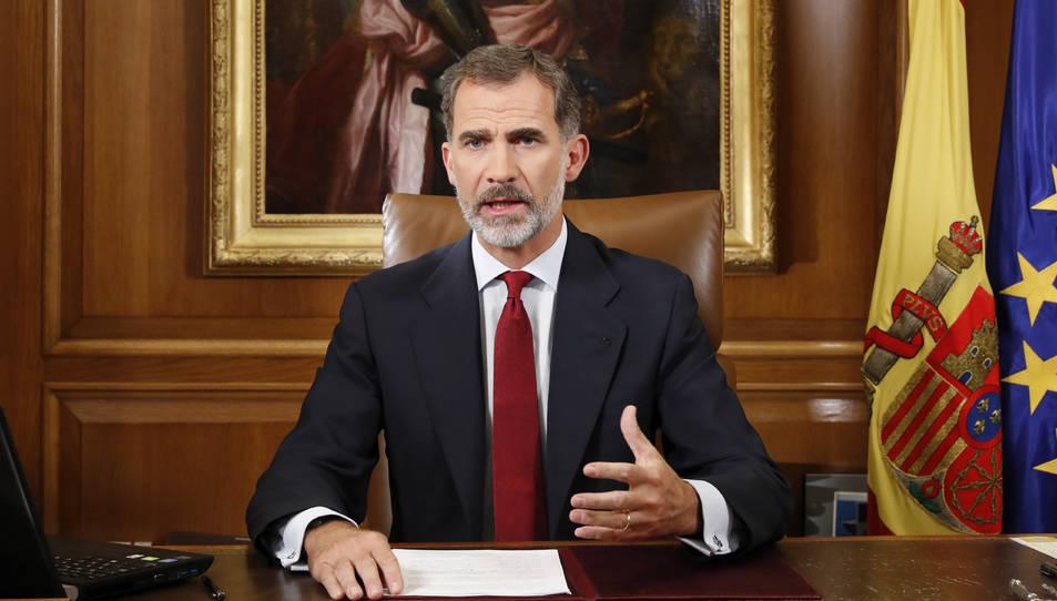 Imatge del Rey Felip VI durant el seu discurs.