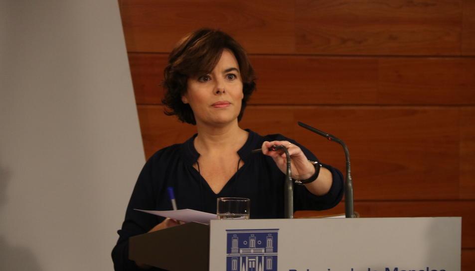 Imatge de la vicepresidenta del govern espanyol, Soraya Sáenz de Santamaría, aquest 1 d'octubre.