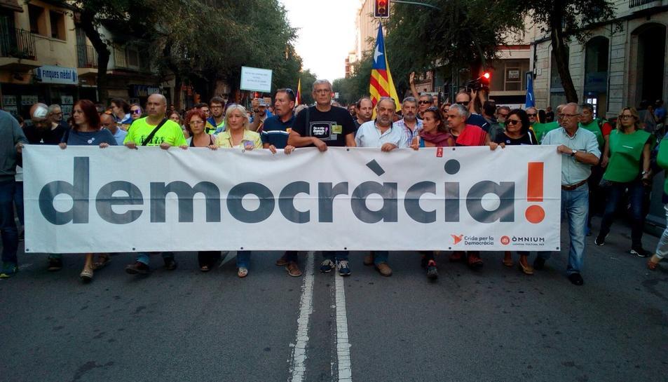 Capçalera de la concentració a Tarragona.
