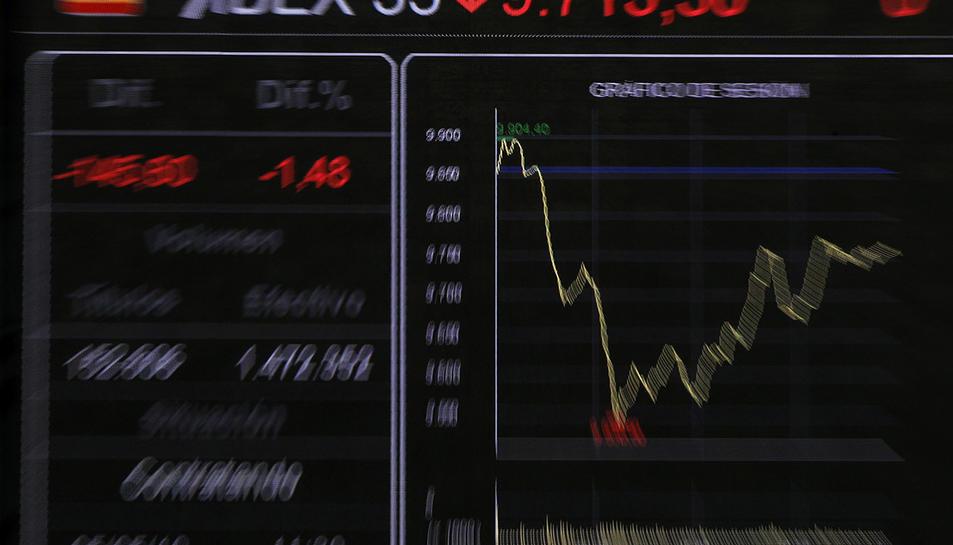 Una pantalla de l'interior de la Borsa mostra un gràfic amb l'evolució de l'IBEX 35