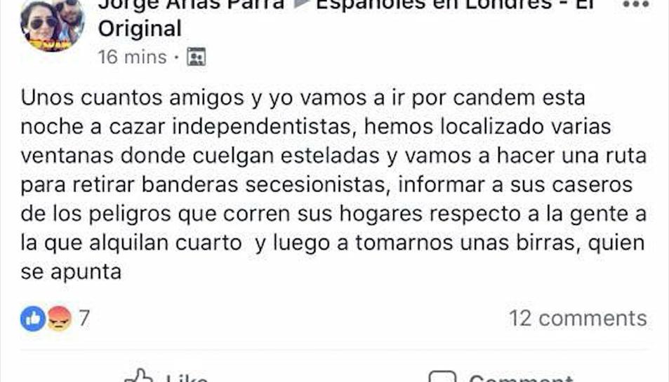 Comentari a un grup de Facebook on es convida a «caçar independentistes».