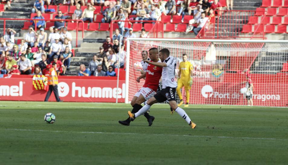 Imatge de Tejera durant el partit del Nàstic al Nou Estadi contra l'Albacete.