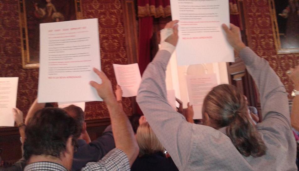Representants de sindicats han assistit al ple per rebutjar