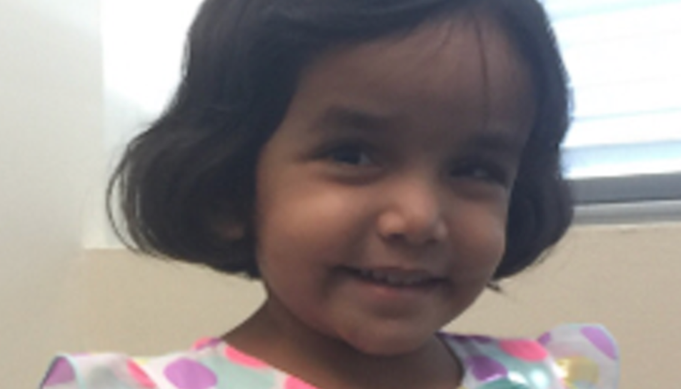 SherinMathews de 3 anys va ser adoptada en un orfenat de la Índia.