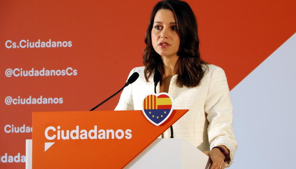 Inés Arrimadas, durant la compareixença davant els mitjans.