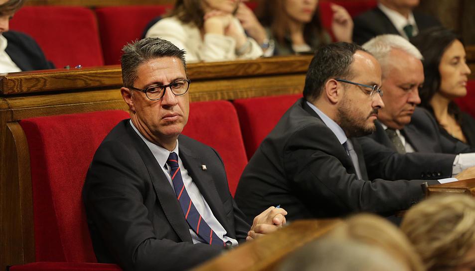 El president del PPC, Xavier Garcia Albiol, al seu escó al Parlament durant la compareixença de Puigdemont.