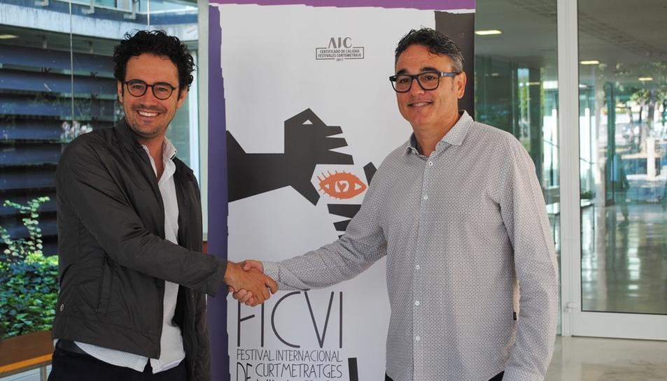 El president del Patronat Municipal de Turisme de Vila-seca, Pere Segura, i el director del FICVI, Josep G. Varo