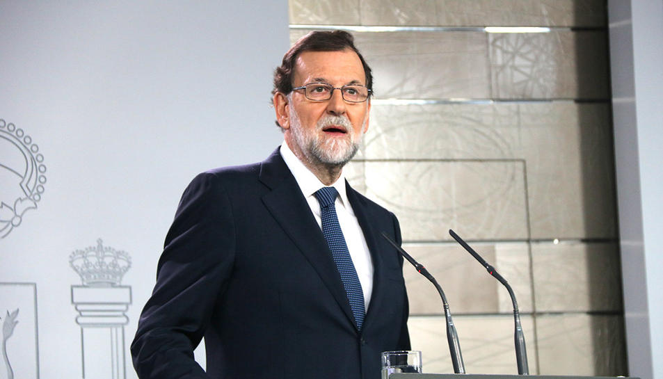 El president espanyol, Mariano Rajoy, en la compareixença a La Moncloa d'aquest dimecres, 11 d'octubre