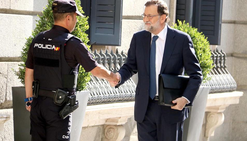 Mariano Rajoy entrant aquest dimecres al Congrés dels Diputats.