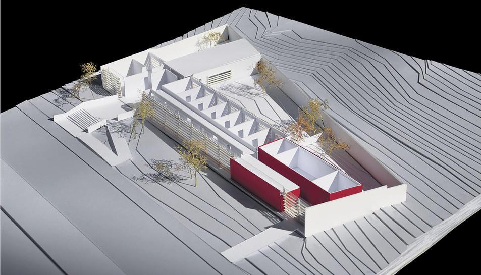 Imatge de la maqueta de l'edifici que mostra la seva distribució interior.