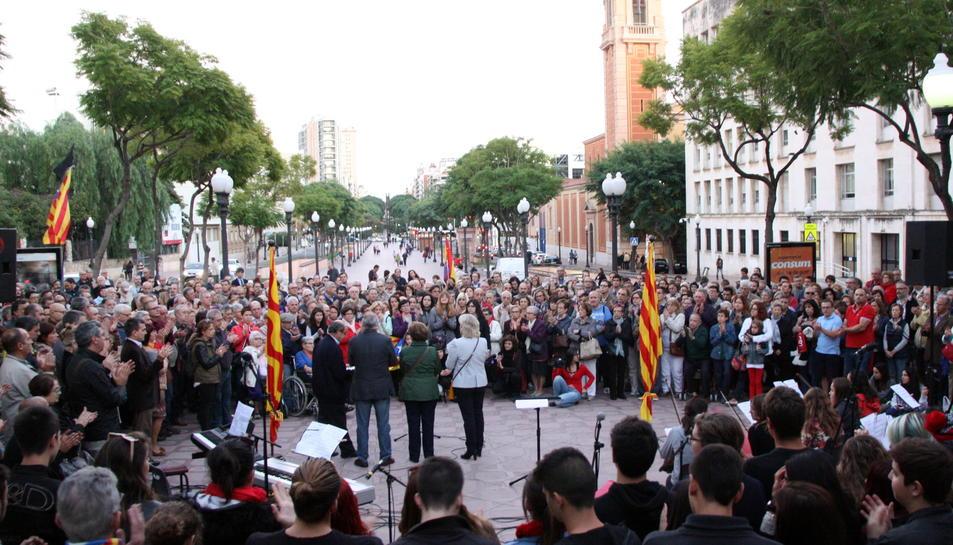 Imatge d'arxiu d'un homenatge a Companys a Tarragona.
