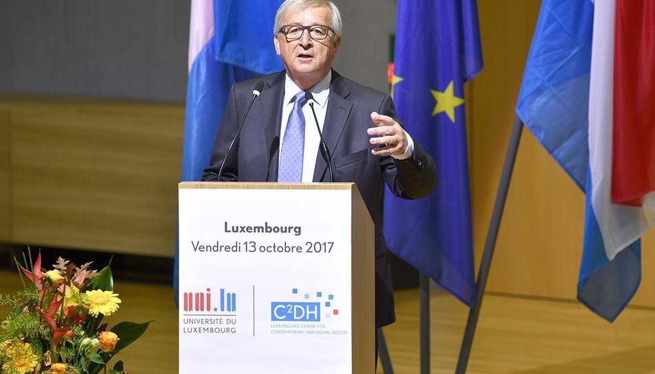 El president de la Comissió Europea, Jean-Claude Juncker, durant el discurs a Luxemburg aquest divendres.