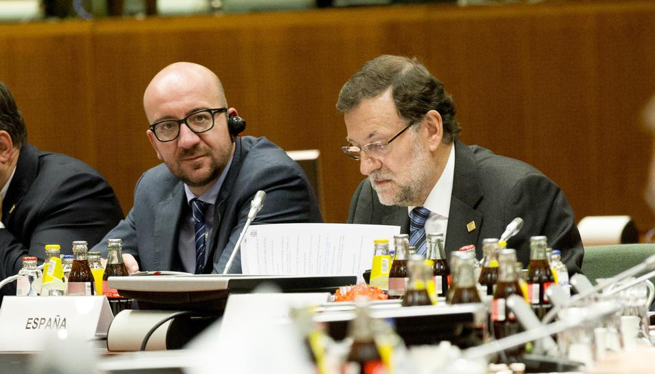 El president espanyol, Mariano Rajoy, amb el primer ministre belga, Charles Michel.