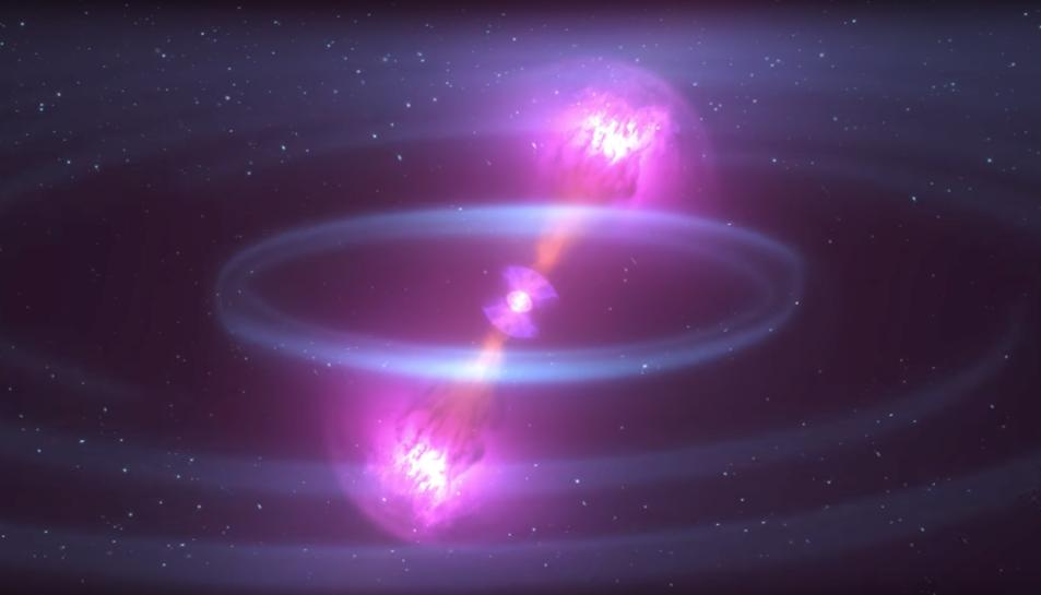 Recreació de la col·lisió produïda pels dos astres.