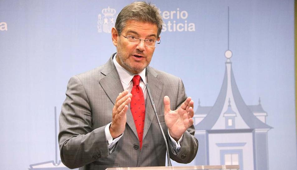 El ministre de Justícia, Rafael Catalá, durant la roda de premsa posterior a la sectorial de justícia.