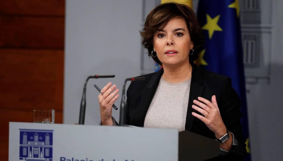 Imatge de Soraya Saénz de Santamaría en la seva compareixença d'aquest 16 d'octubre.