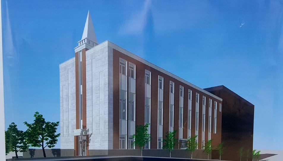 Aspecte final que tindrà la capella que els mormons construeixen al carrer Doctor Mallafrè.