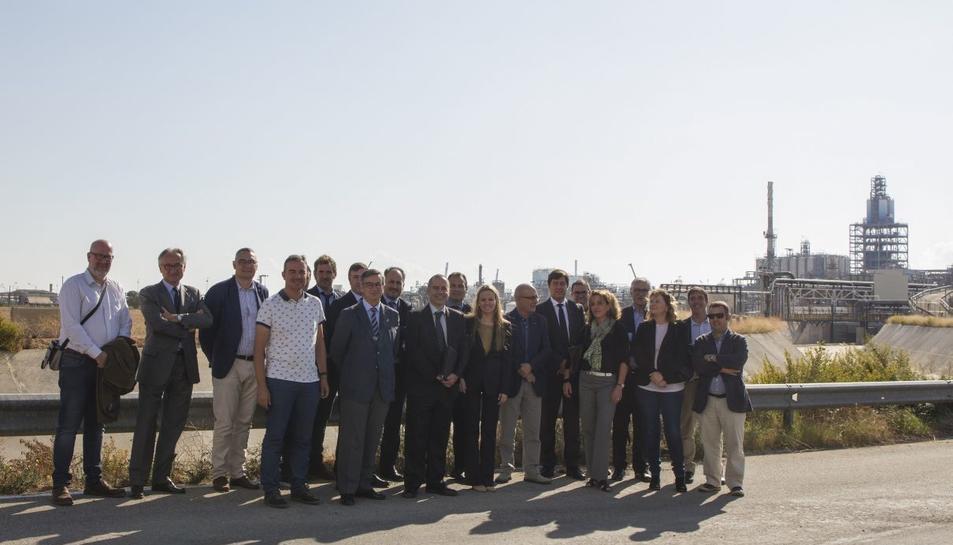 Imatge de la inauguració de les obres de les rieres, aquest dimart 17 d'octubre.