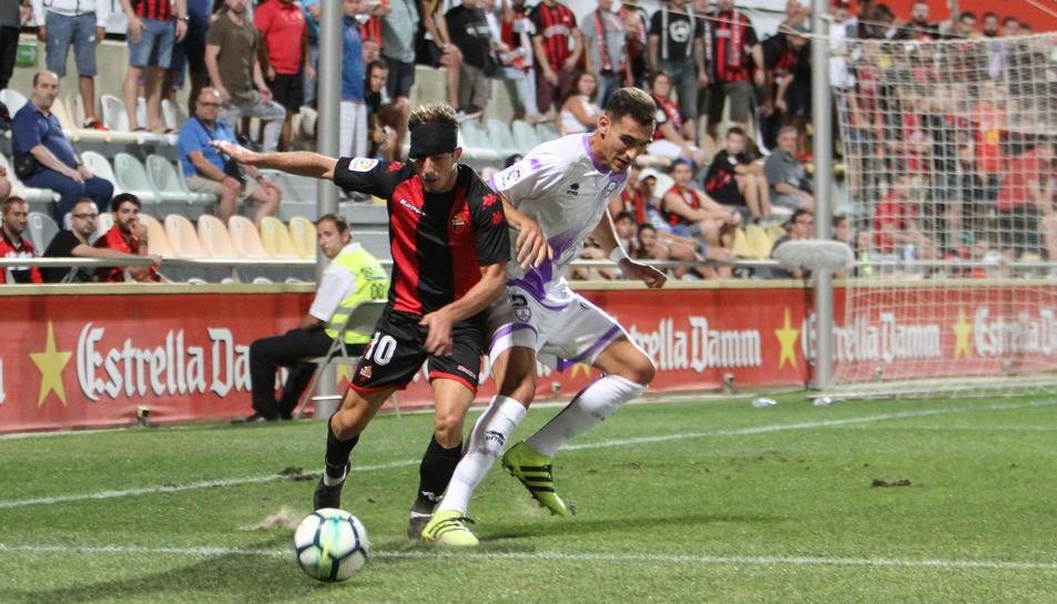 Máyor, durant el CF Reus-Numancia d'aquesta temporada, on va rebre un cop al cap i va jugar embenat.