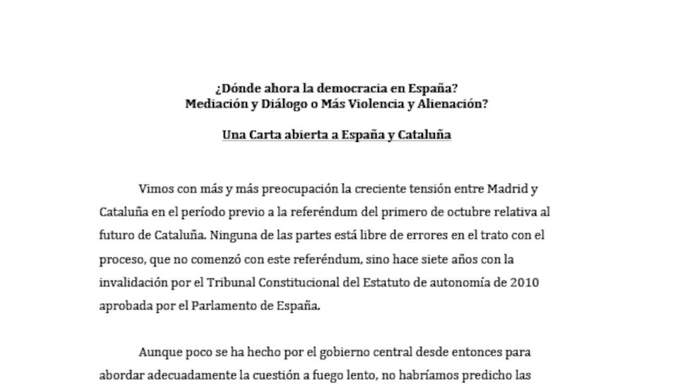 Carta redactada per 24 premis Nobel fent una crida pels conflictes entre Catalunya i Espanya.
