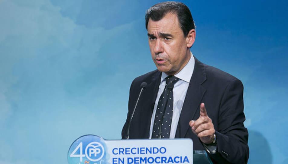 El coordinador general del PP, Fernando Martínez-Maillo, en roda de premsa a la seu del partit aquest 19/10/2017
