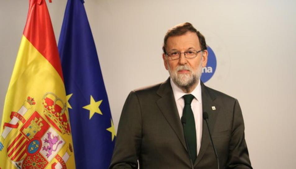 El president del govern espanyol, Mariano Rajoy, a la roda de premsa posterior al Consell Europeu.