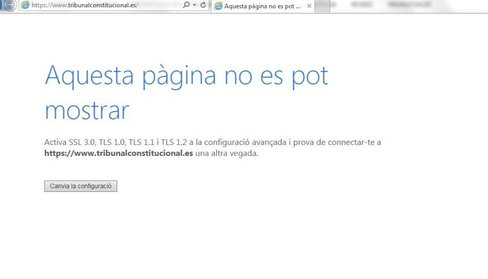 La pàgina web del Tribunal Constitucional no està accessible des d'aquest dissabte 21 al matí.