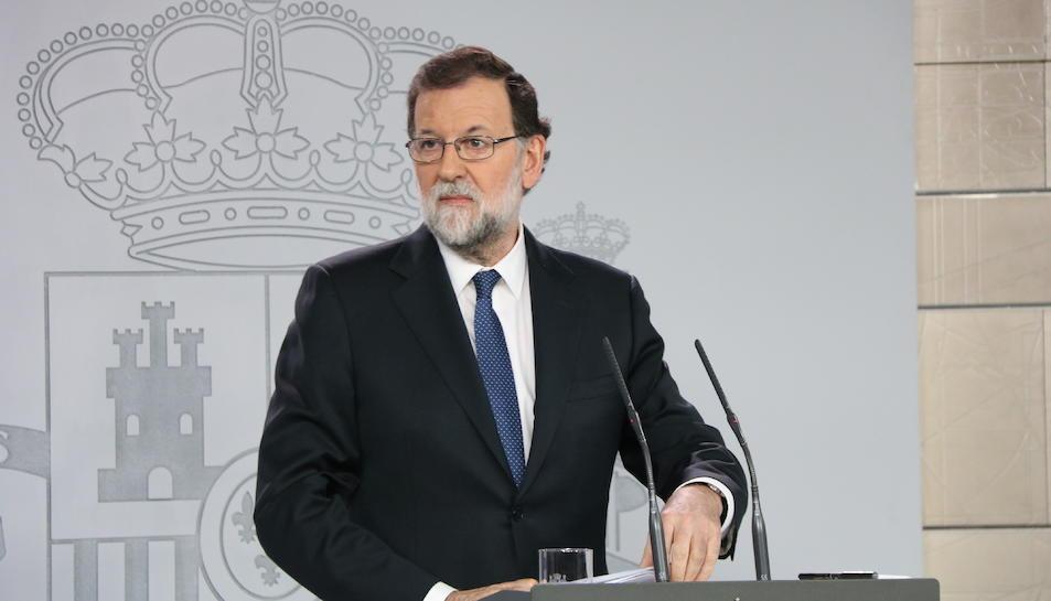 Mariano Rajoy, aquest matí, en la seva compareixença a La Moncloa.