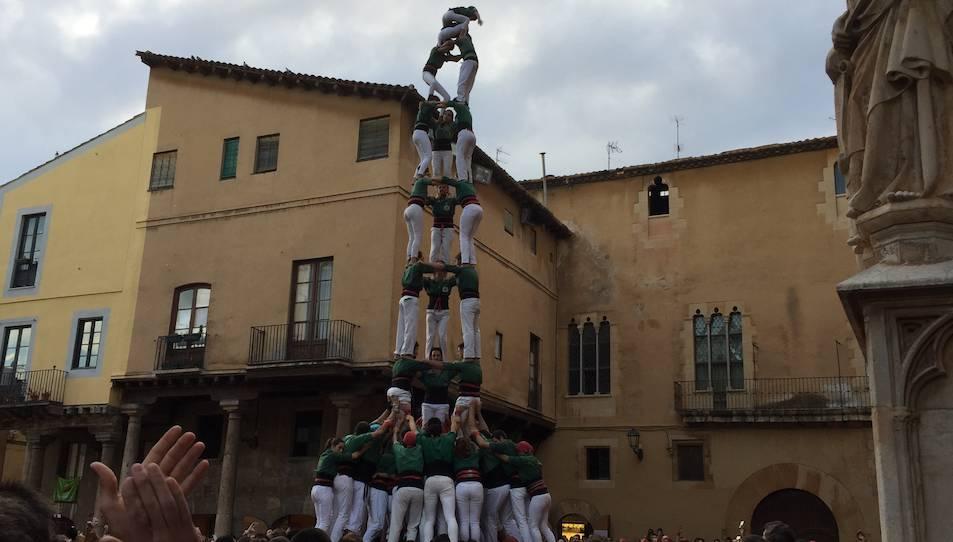 3de9f dels Castellers de Sant Cugat a la diada de l'Esperidió.