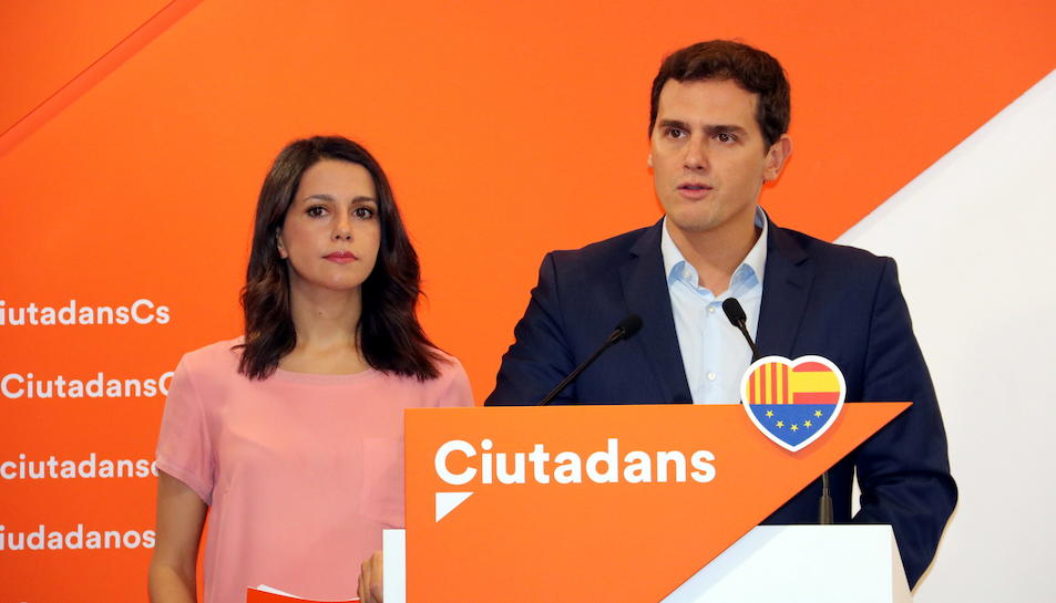 La cap de l'oposició a Catalunya, Inés Arrimadas, i el líder de Ciutadans, Albert Rivera.