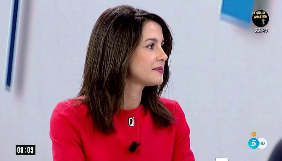 Imatge d'Arrimadas al programa de Tele5, aquest dilluns