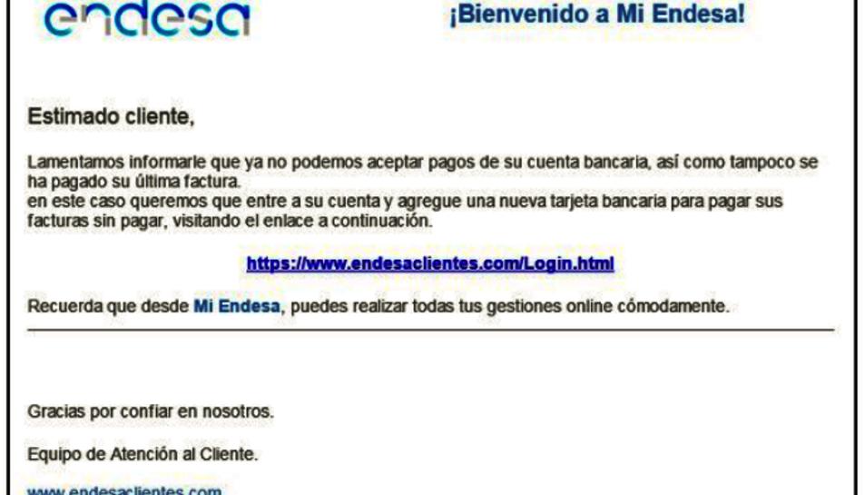 Imatge del correu fraudulent que suplanta Endesa per robar dades bancàries.