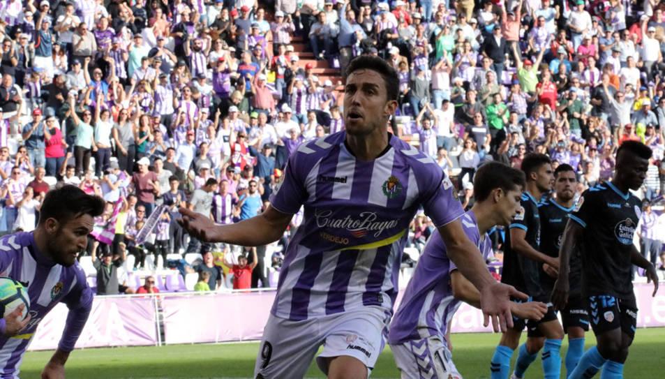 Mata celebra el seu últim gol, marcat el passat diumenge a casa contra el Lugo (2-2).