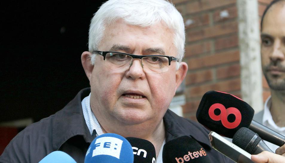 El portaveu de l'ANC, Agustí Alcoberro, durant la seva compareixença davant els mitjans de comunicació aquest dijous.