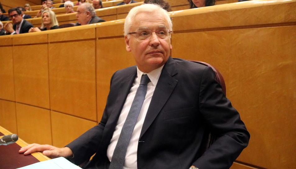 El delegat el Govern a Madrid, Ferran Mascarell, assegut a la comissió del Senat on, finalment, no ha pogut intervenir.