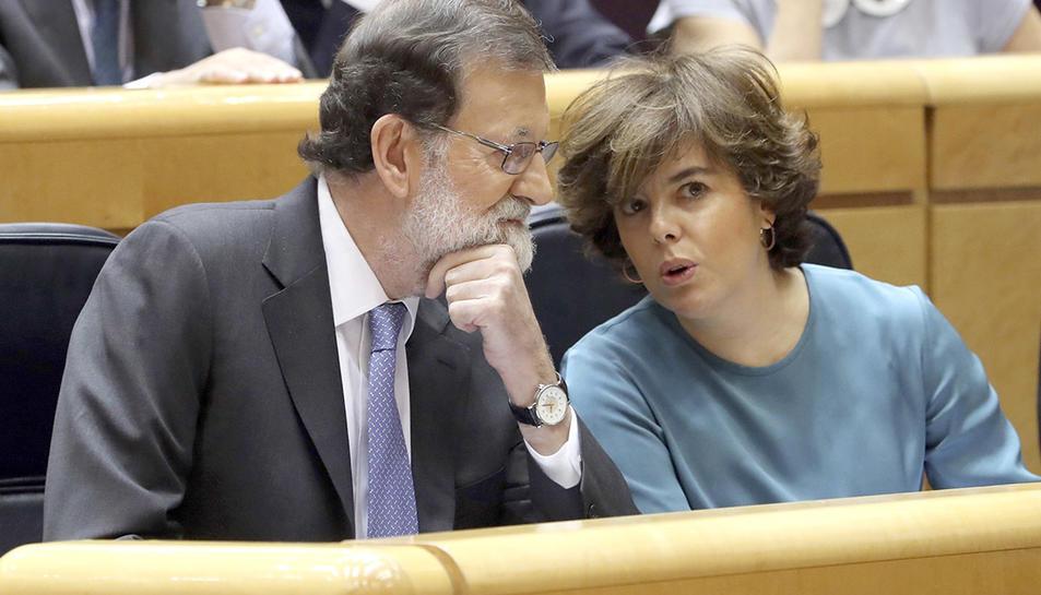 Mariano Rajoy i  Soraya Sáenz de Santamaría al Senat