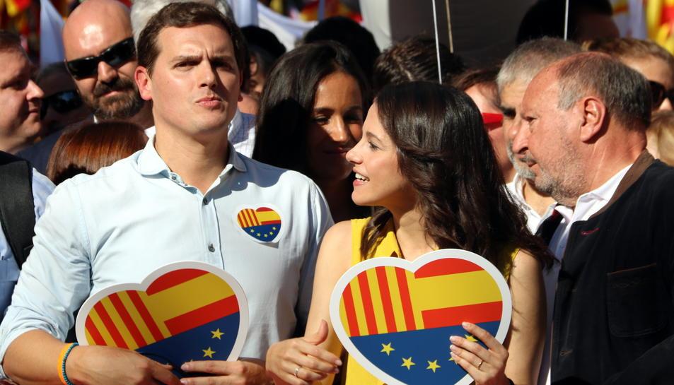 Albert Rivera i Inés Arrimadas a la manifestació de SCC.