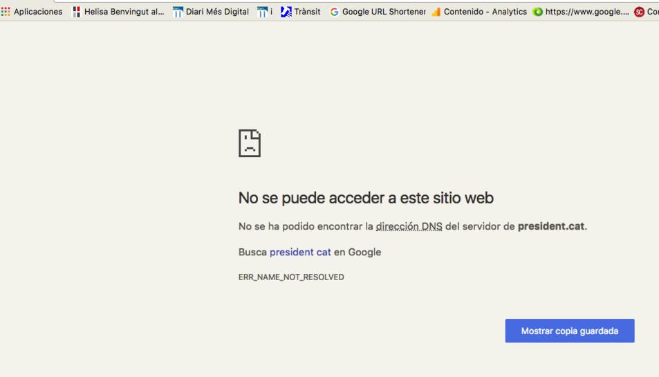 Si els usuaris intenten accedir a president.cat i govern.cat els apareix un missatge indicant que no s'ha trobat l'adreça.