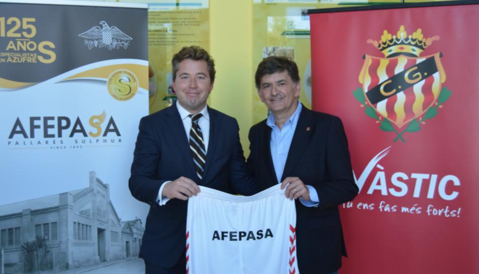 Ignaci Pallarés, president del Grup d'empreses Afrex Holding; i Josep Maria Andreu, president del Gimnàstic de Tarragona.