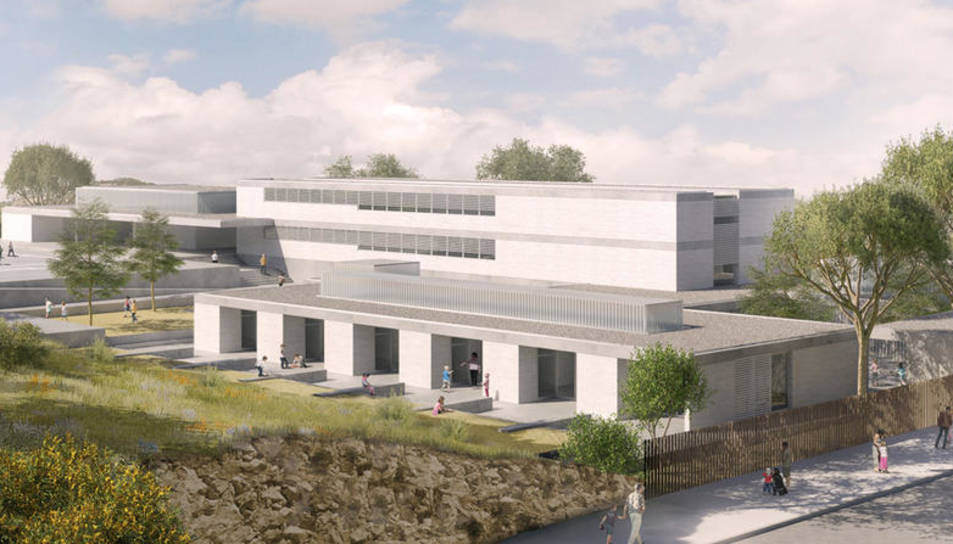 Recreació virtual del nou edifici de l'escola, ubicat al costat del carrer Mercè Rodoreda.