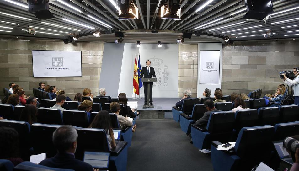 Imatge d'arxiu de Mariano Rajoy en una roda de premsa a La Moncloa.