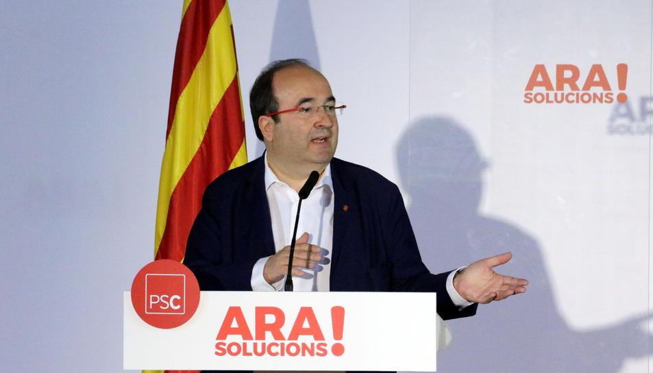 Miquel Iceta, líder del PSC, en una intervenció davant els mitjans.