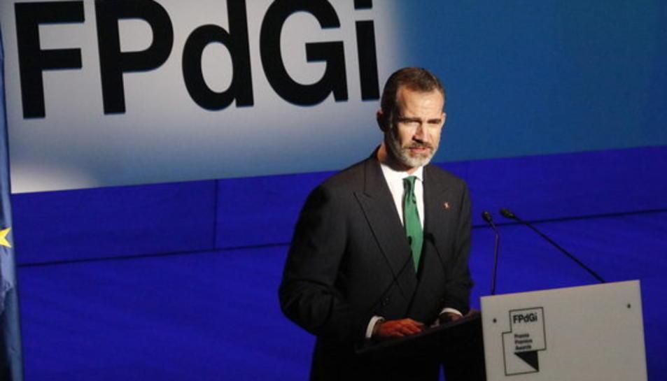 Pla mig del rei d'Espanya durant la cloenda de l'entrega dels premis Fundació Princesa de Girona, el 29 de juny del 2017.