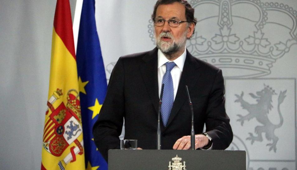 El president espanyol, Mariano Rajoy, en la compareixença després del Consell de Ministres extraordinari pel 155.